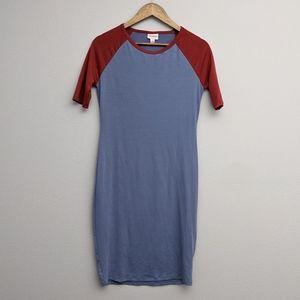 LuLaRoe Julia Dress Blue and Deep Red